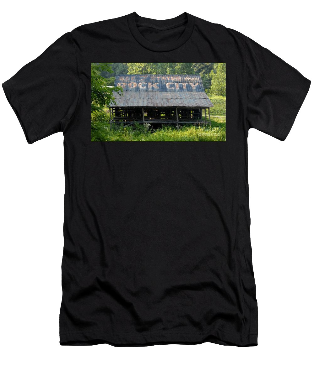 Rock City Men's T-Shirt (Athletic Fit) featuring the photograph Rock City Barn by David Lee Thompson
