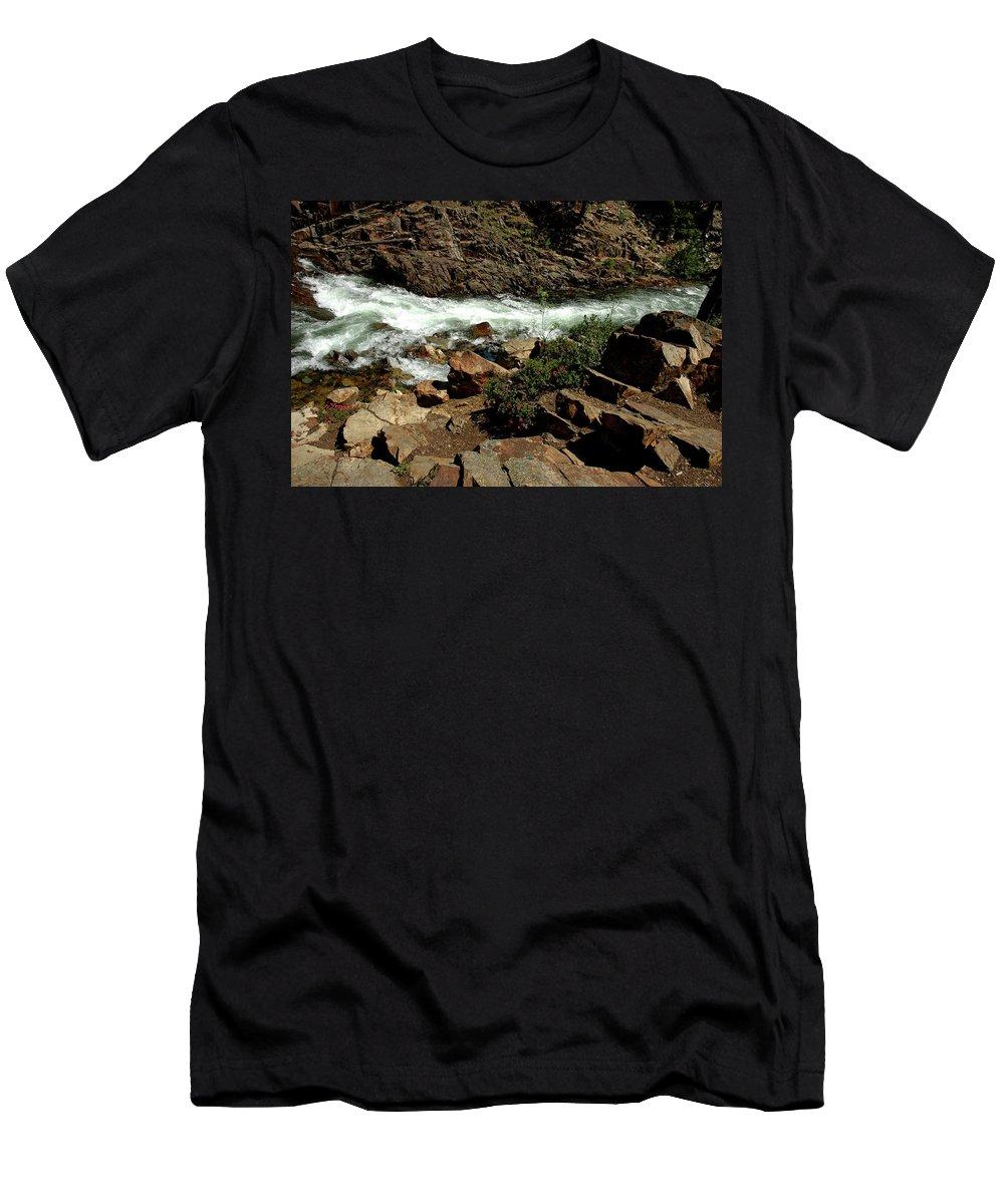 Usa Men's T-Shirt (Athletic Fit) featuring the photograph Rock Rush Glen Alpine Creek by LeeAnn McLaneGoetz McLaneGoetzStudioLLCcom
