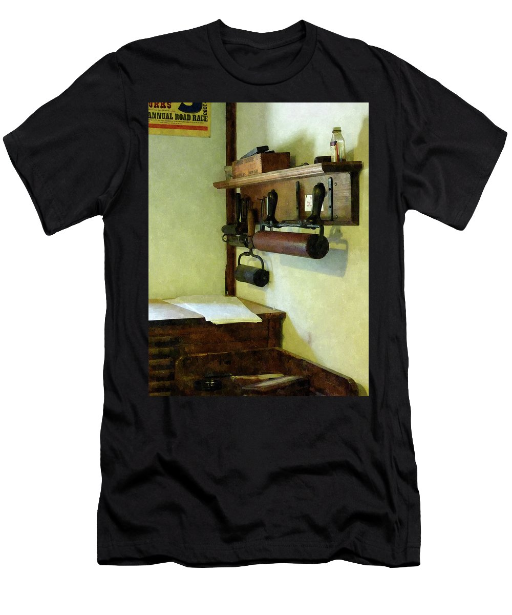 Rollers Men's T-Shirt (Athletic Fit) featuring the photograph Rollers For Printmaking by Susan Savad