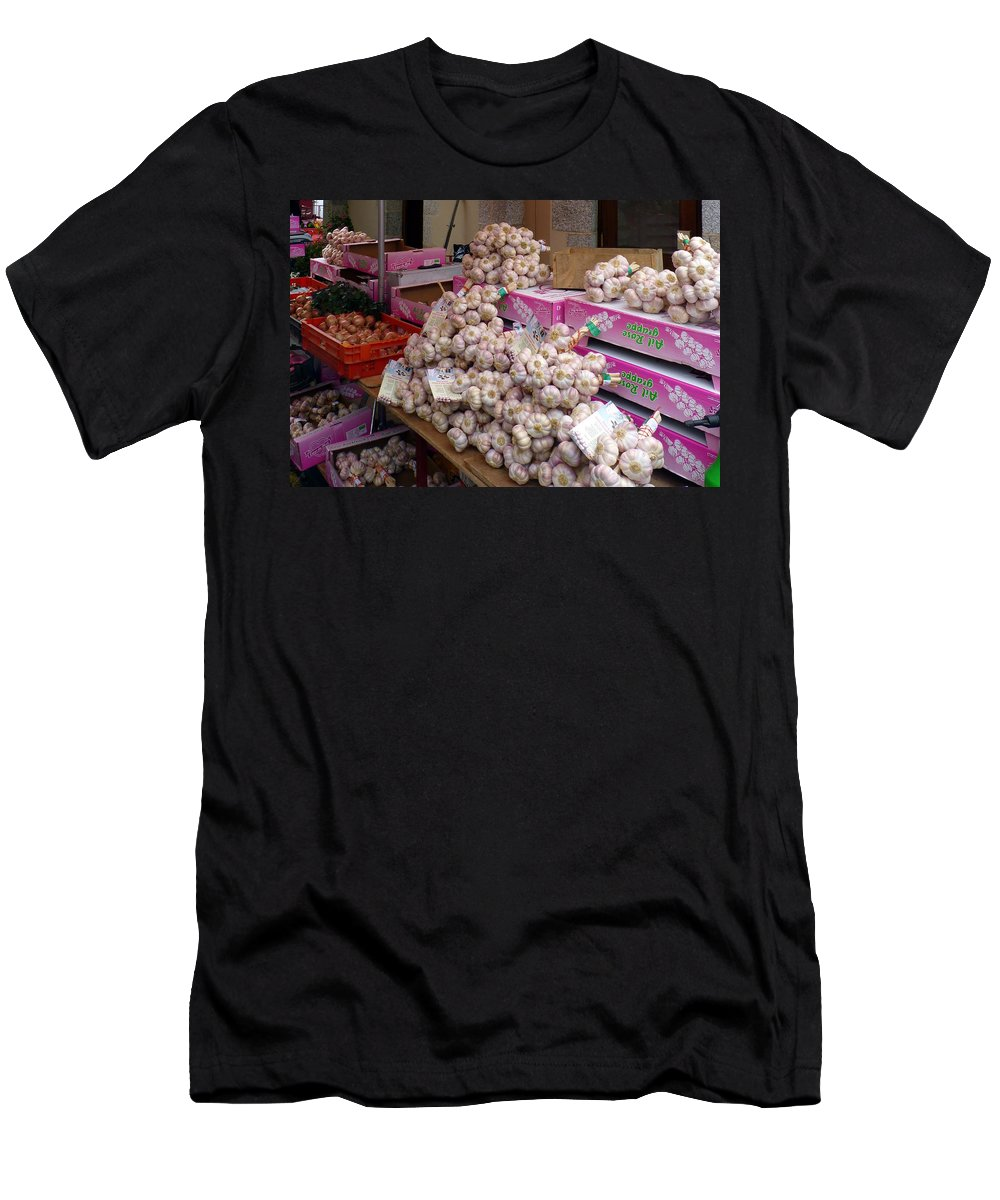 Garlic Men's T-Shirt (Athletic Fit) featuring the photograph Rose Garlic by Carla Parris