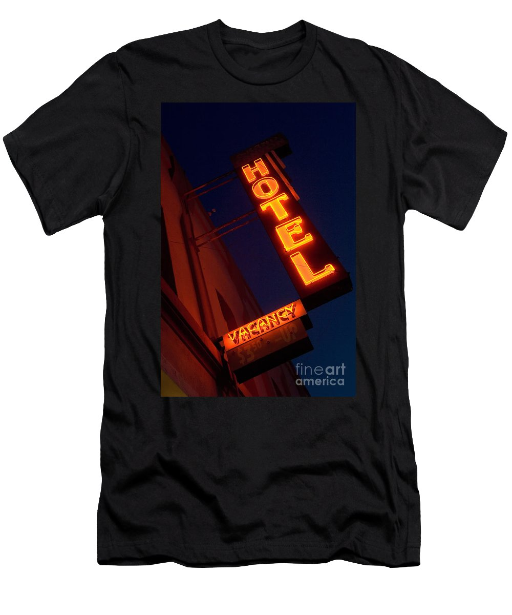 Flames Men's T-Shirt (Athletic Fit) featuring the photograph Route 66 Hotel Williams by Bob Christopher