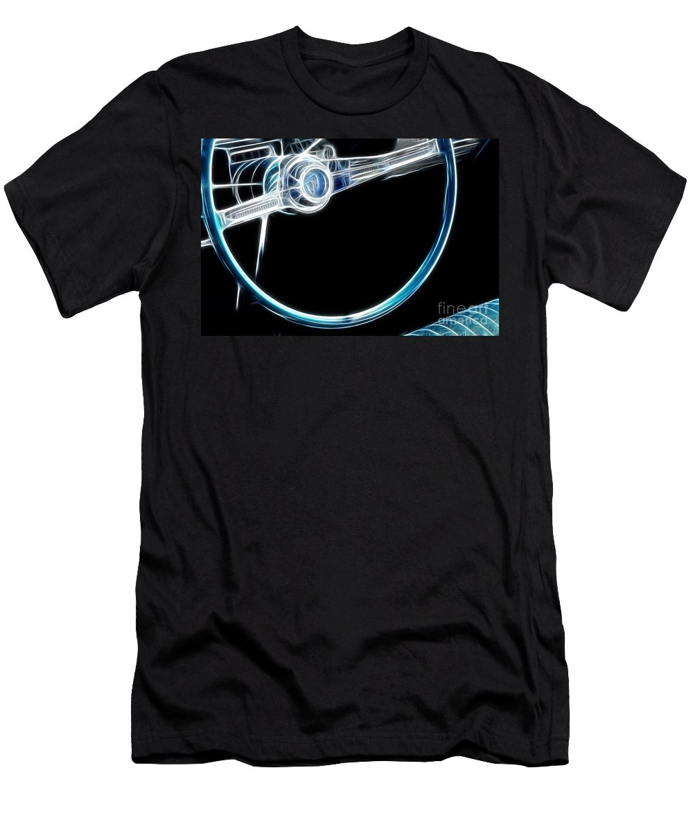 Steering Wheel Men's T-Shirt (Athletic Fit) featuring the photograph Route 66 Take The Wheel by Bob Christopher