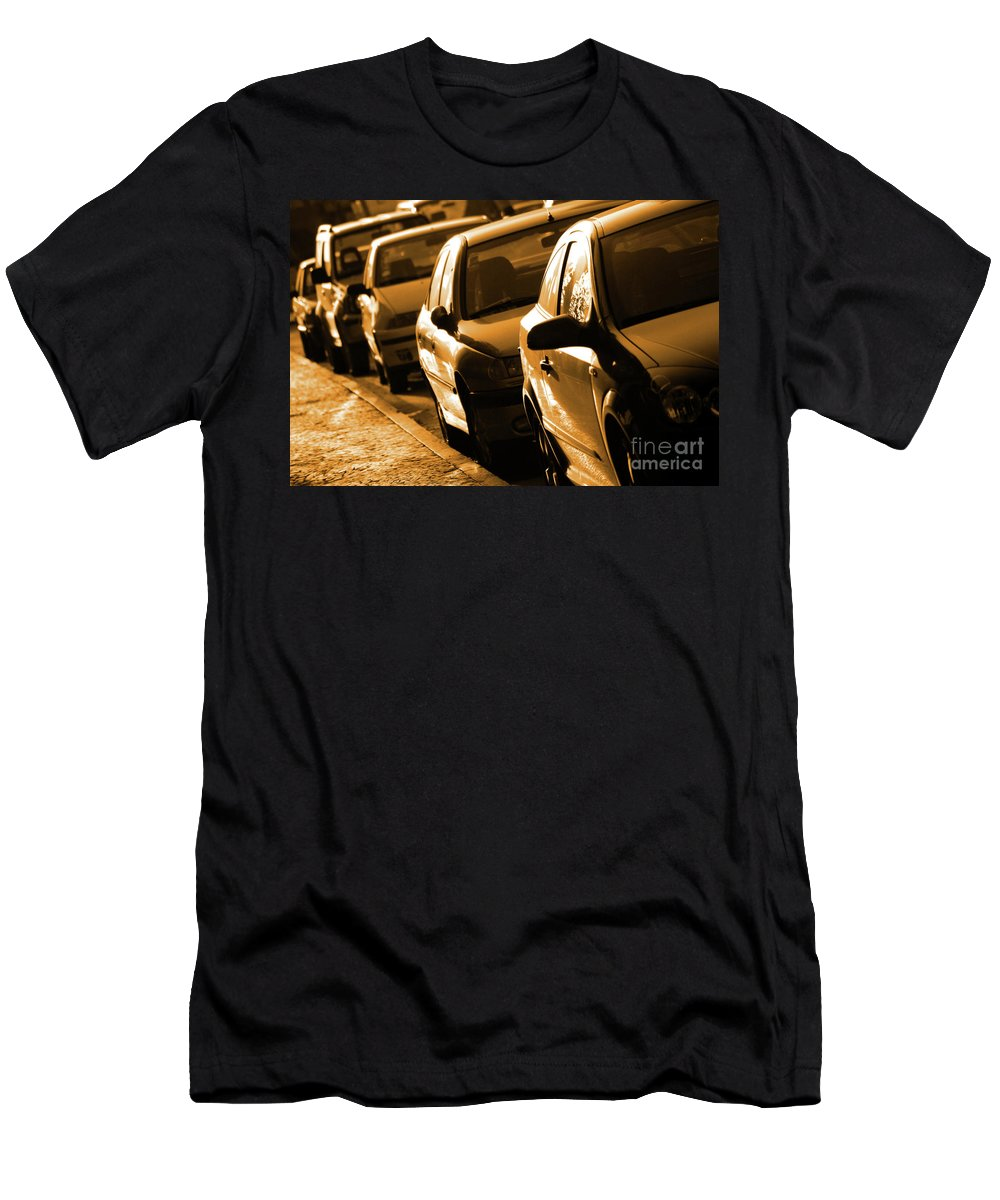 Auto Men's T-Shirt (Athletic Fit) featuring the photograph Row Of Cars by Carlos Caetano