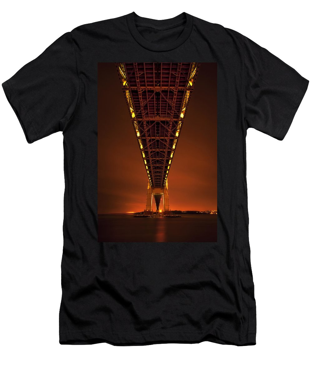 Verrazano Men's T-Shirt (Athletic Fit) featuring the photograph Run Through The Night by Evelina Kremsdorf