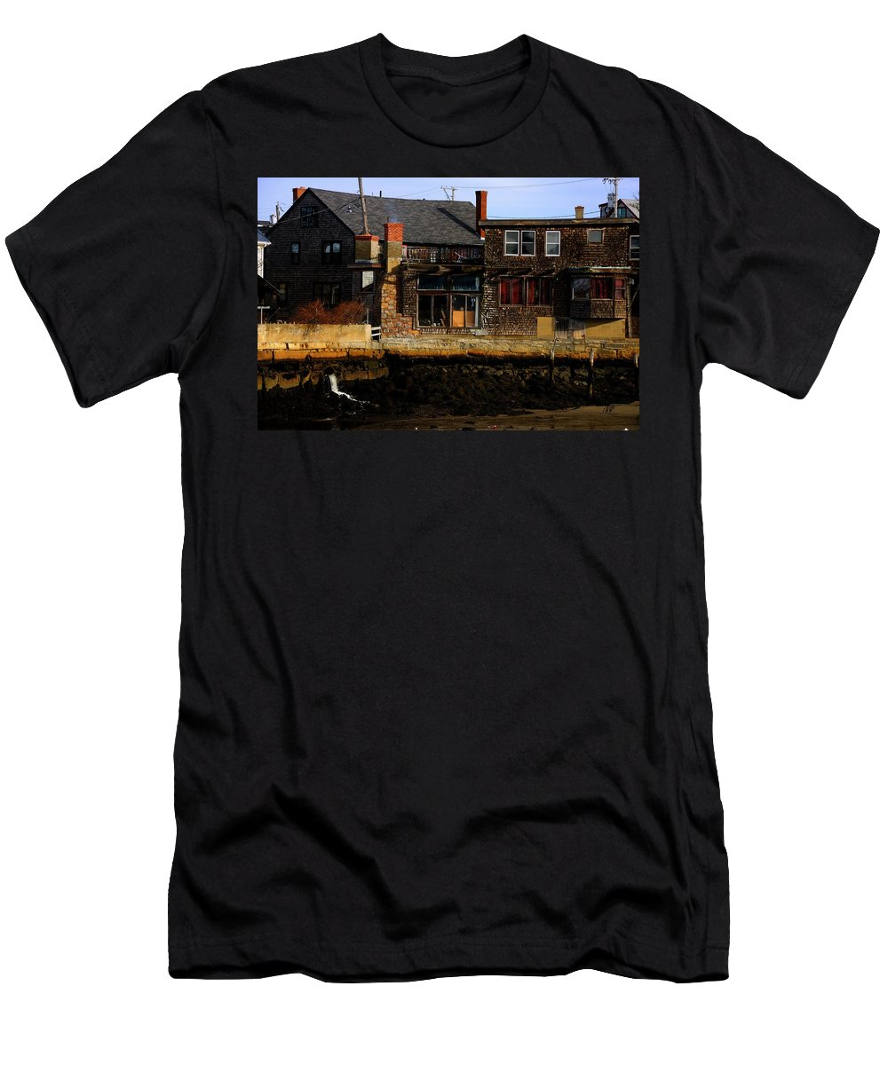 Rockport Men's T-Shirt (Athletic Fit) featuring the photograph Rustic Waterfront by Mark Valentine