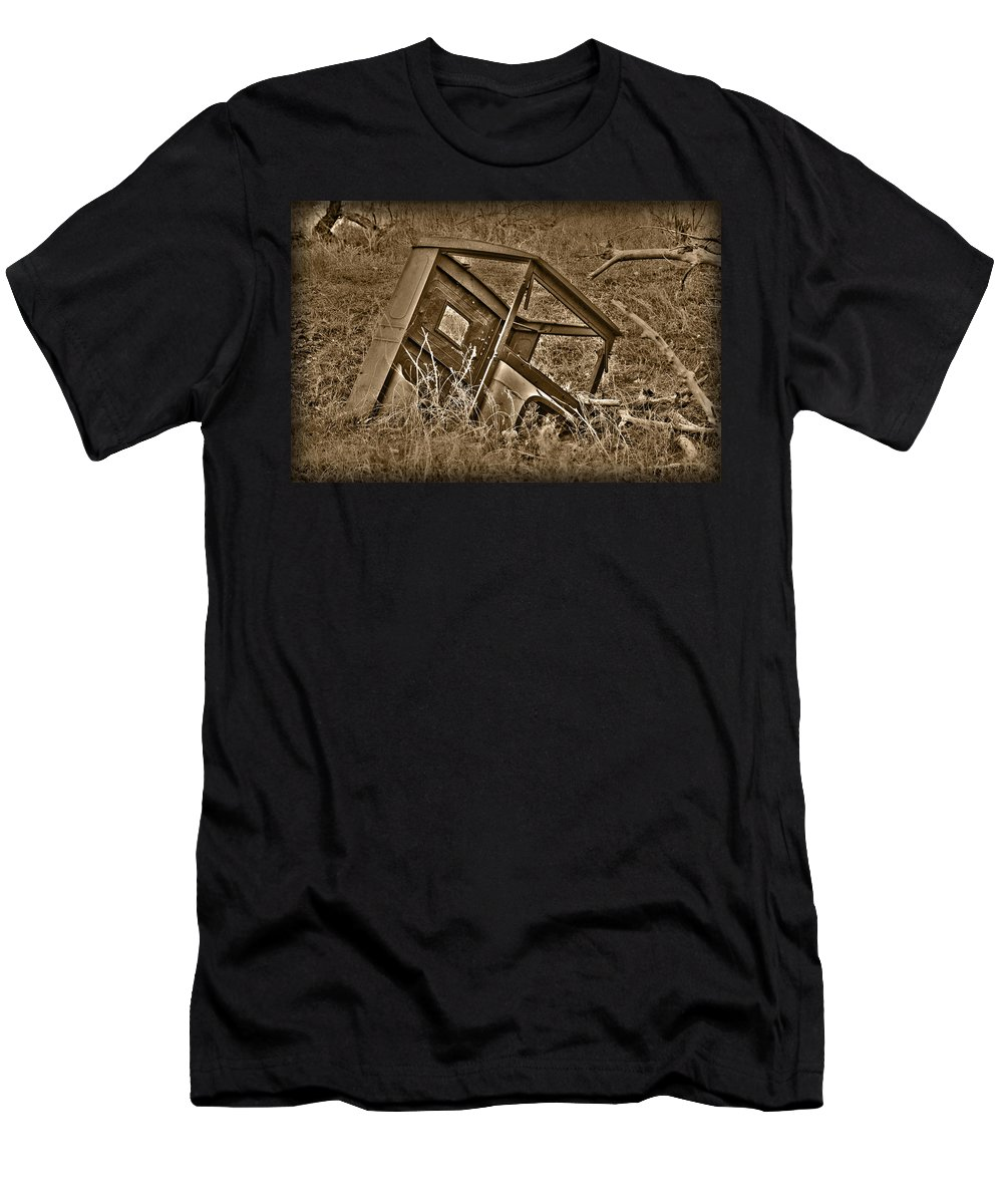 Sepia Men's T-Shirt (Athletic Fit) featuring the photograph Rusting Away by Shane Bechler