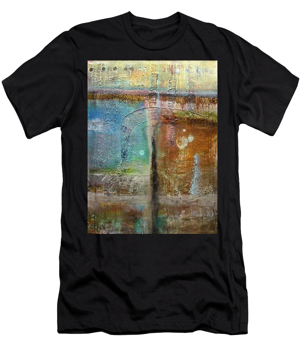 Abstract Men's T-Shirt (Athletic Fit) featuring the painting Rusty Door by Catron Wallace