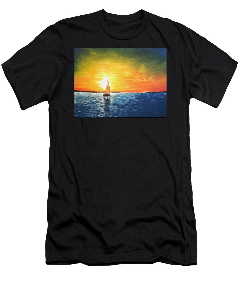 Seascape Men's T-Shirt (Athletic Fit) featuring the painting Safe Harbor by Candy Prather
