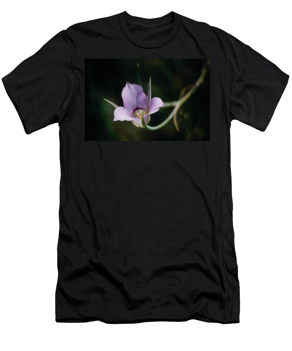 Calochortus Macrocarpus Men's T-Shirt (Athletic Fit) featuring the photograph Sagebrush Mariposa Lily by One Rude Dawg Orcutt