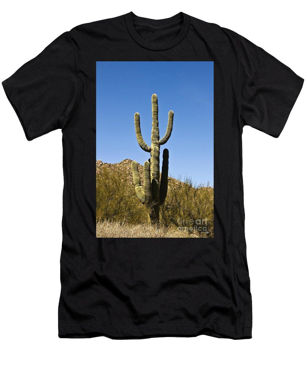 Botanical Men's T-Shirt (Athletic Fit) featuring the photograph Saguaro Cactus by Scott Pellegrin