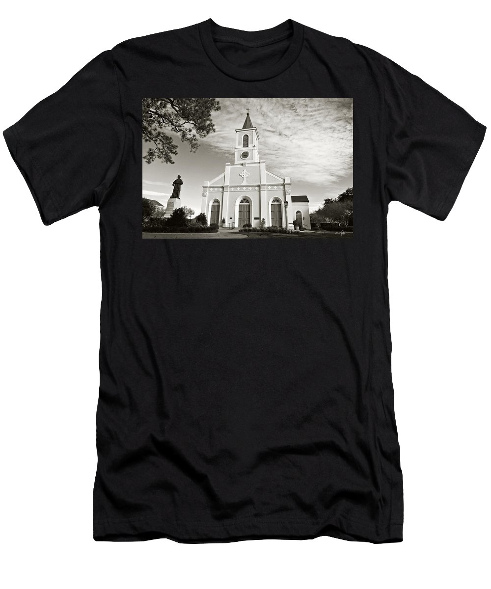 Saint Martin Men's T-Shirt (Athletic Fit) featuring the photograph Saint Martin De Tours - Sepia by Scott Pellegrin
