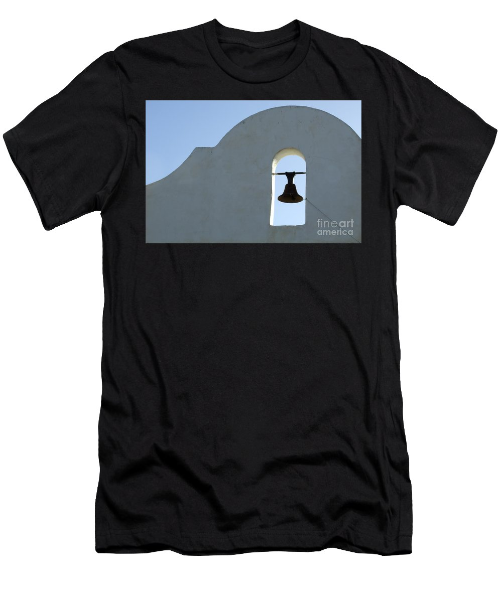 San Xavier Del Bac Mission Men's T-Shirt (Athletic Fit) featuring the photograph San Xavier Del Bac Bell by Bob Christopher