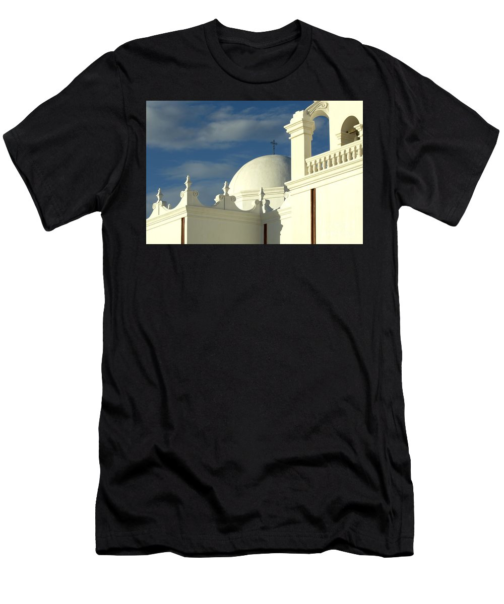 San Xavier Del Bac Mission Men's T-Shirt (Athletic Fit) featuring the photograph San Xavier Del Bac Mission Arizona by Bob Christopher