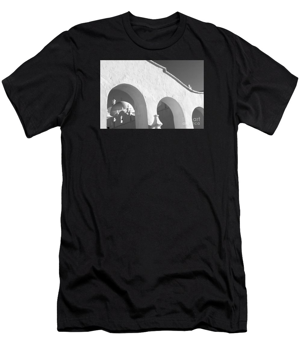 San Xavier Del Bac Mission Men's T-Shirt (Athletic Fit) featuring the photograph San Xavier Del Bac Mission by Bob Christopher
