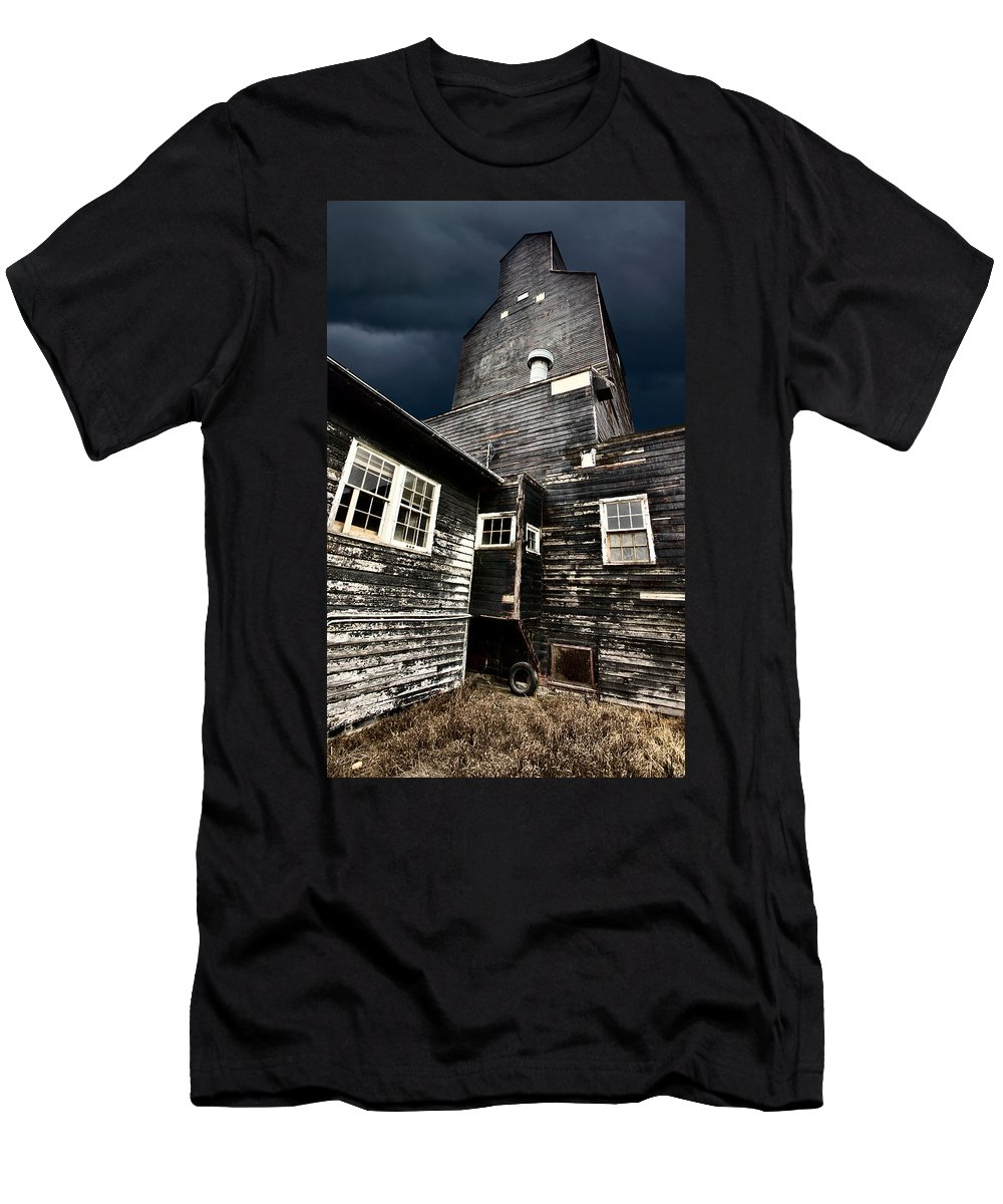 Agriculture Men's T-Shirt (Athletic Fit) featuring the digital art Saskatchewan Grain Elevator by Mark Duffy