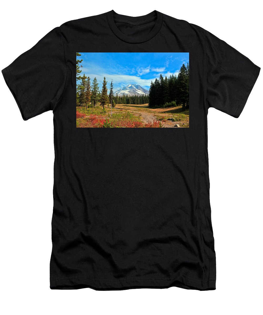 Mount Hood Men's T-Shirt (Athletic Fit) featuring the photograph Scenic Mt. Hood In Oregon by Athena Mckinzie
