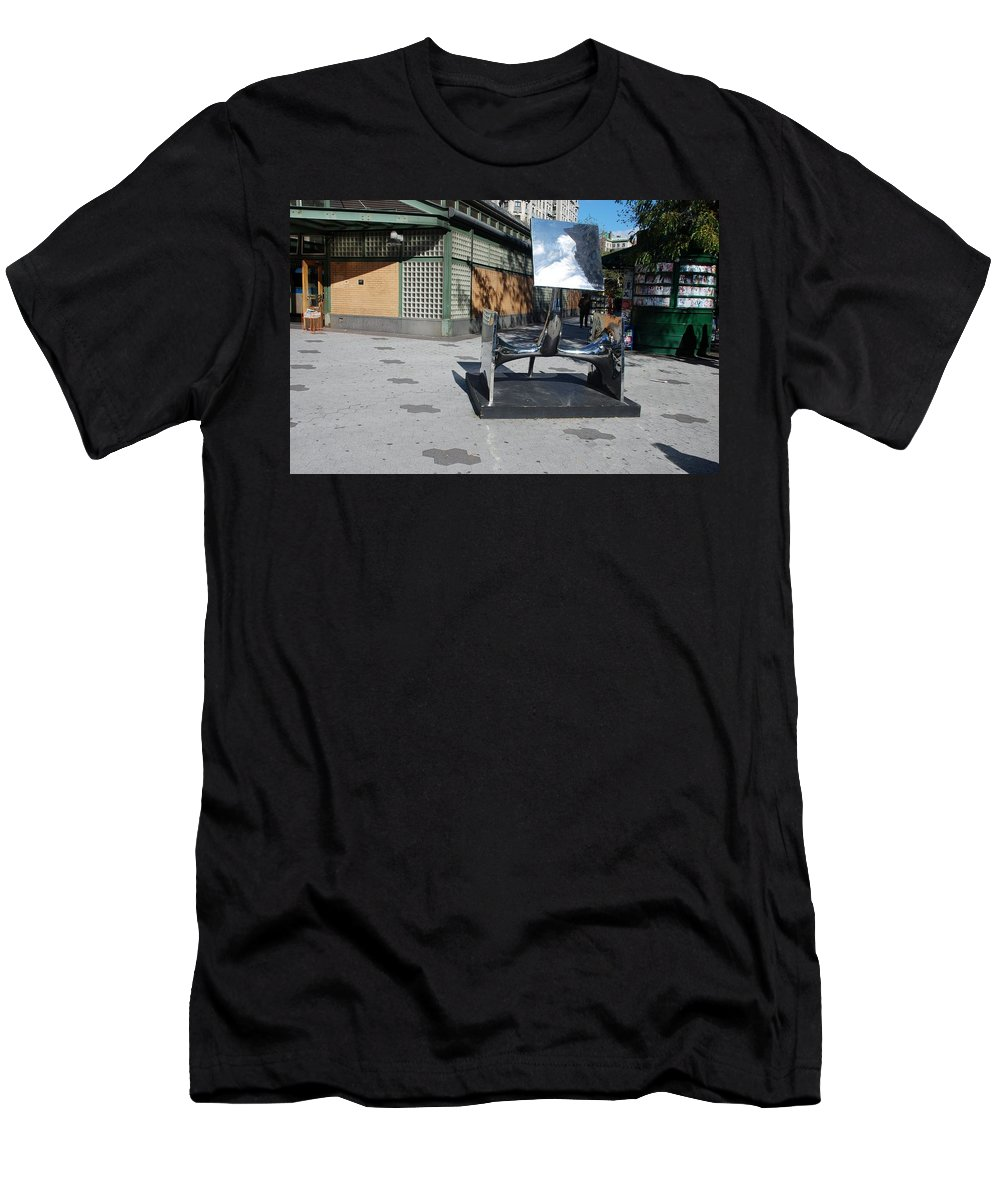 Colors Men's T-Shirt (Athletic Fit) featuring the photograph Sculptures On The Corner by Rob Hans