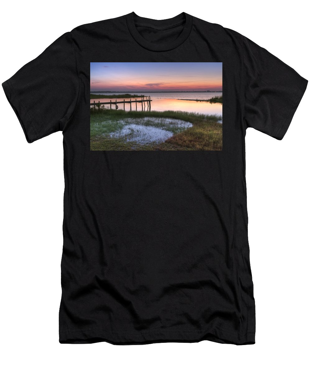 Boats Men's T-Shirt (Athletic Fit) featuring the photograph Sebring Sunrise by Debra and Dave Vanderlaan