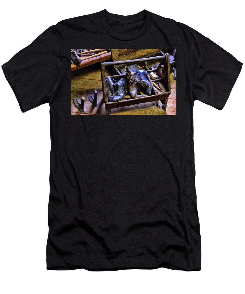 Shoe Men's T-Shirt (Athletic Fit) featuring the photograph Shoe - The Shoe Cobblers Box by Paul Ward