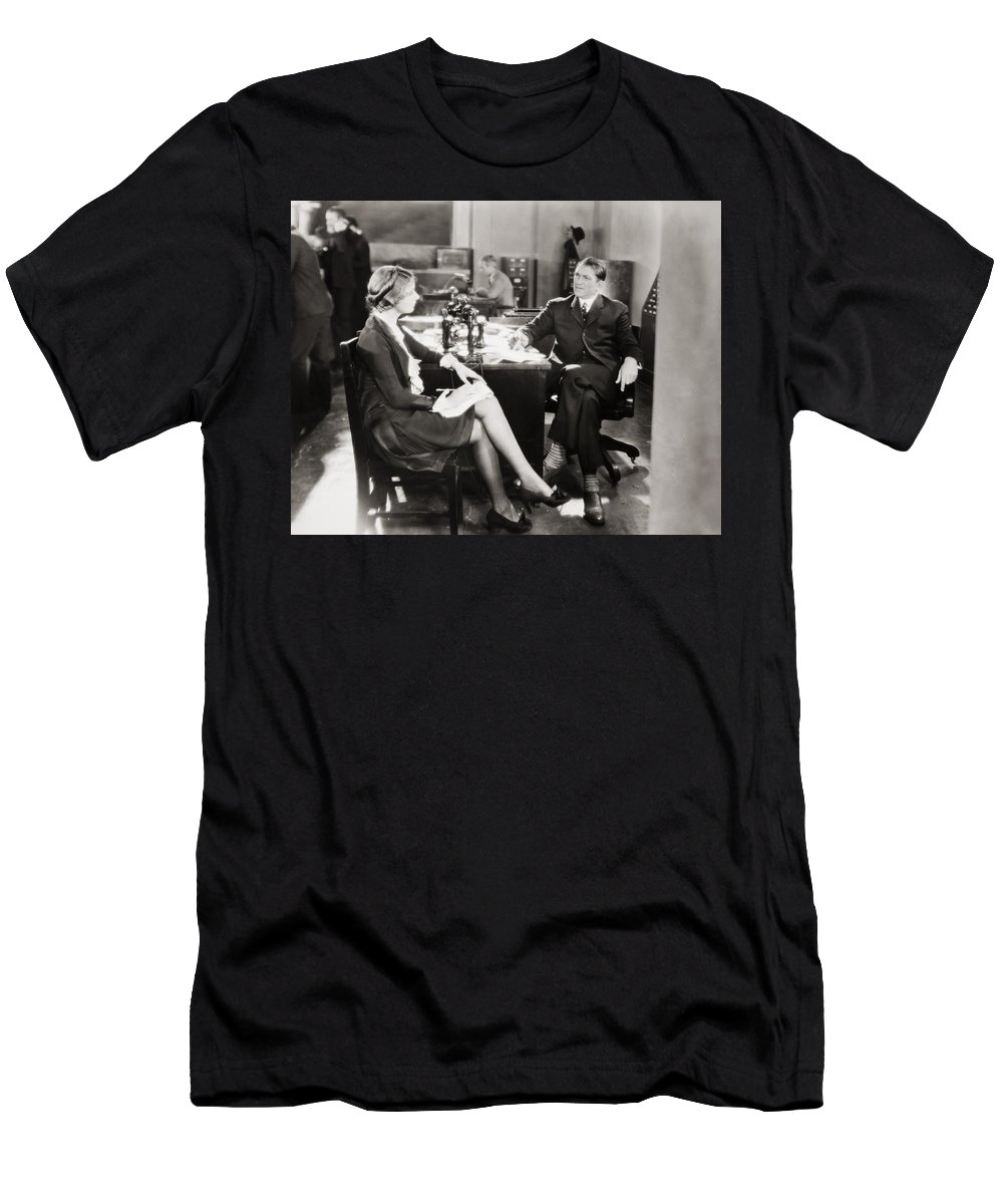 1920s Men's T-Shirt (Athletic Fit) featuring the photograph Silent Film Still: Offices by Granger