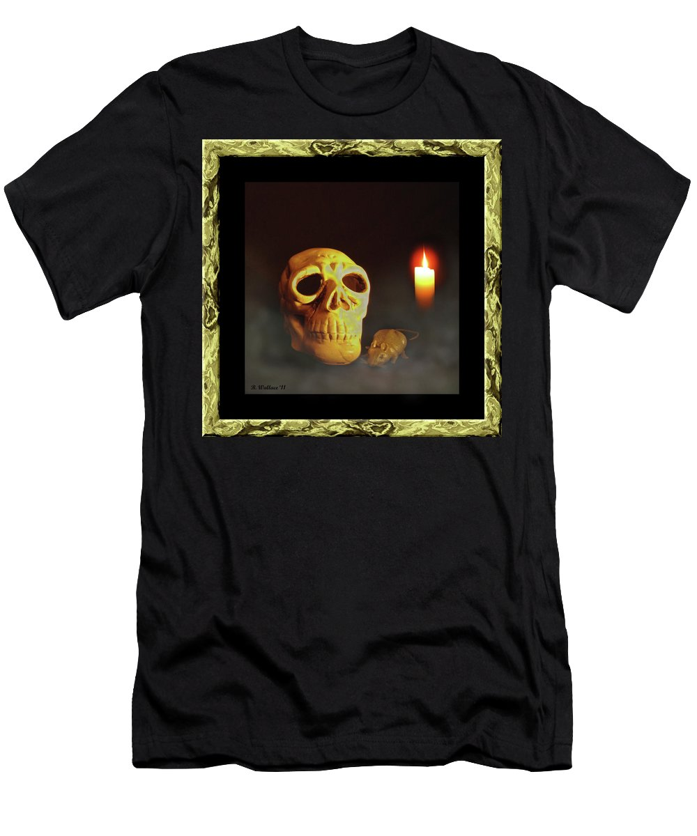 2d Men's T-Shirt (Athletic Fit) featuring the photograph Skull And Candle by Brian Wallace