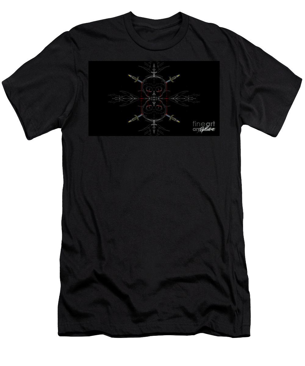 Skulls Men's T-Shirt (Athletic Fit) featuring the digital art Skulls And Daggers by George Pedro