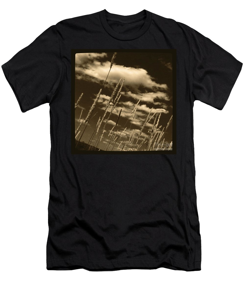 Sepia Men's T-Shirt (Athletic Fit) featuring the photograph Sky Writer by Trish Hale