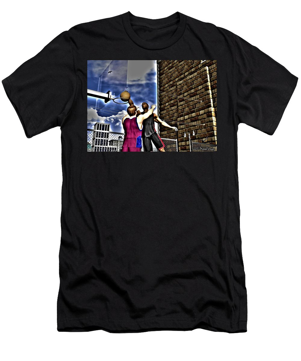 Basketball Men's T-Shirt (Athletic Fit) featuring the digital art Slammed by Michael Stowers