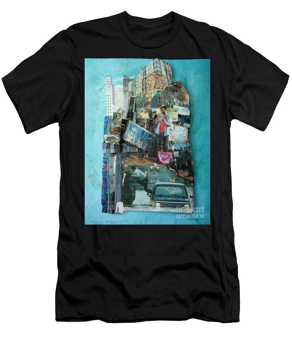 City Men's T-Shirt (Athletic Fit) featuring the mixed media Slice Of The City by Jaime Becker
