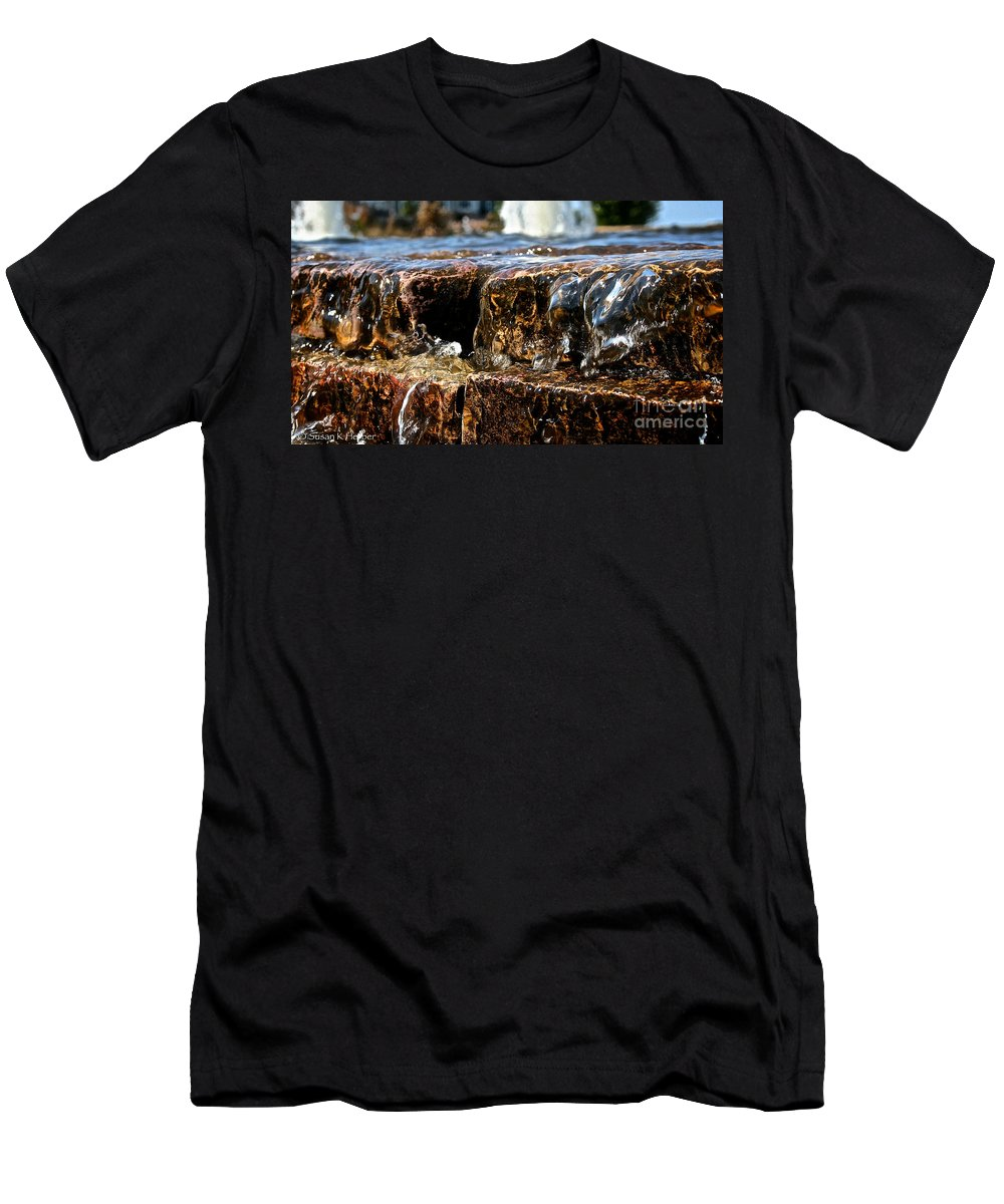 Water Men's T-Shirt (Athletic Fit) featuring the photograph Sliding Water by Susan Herber