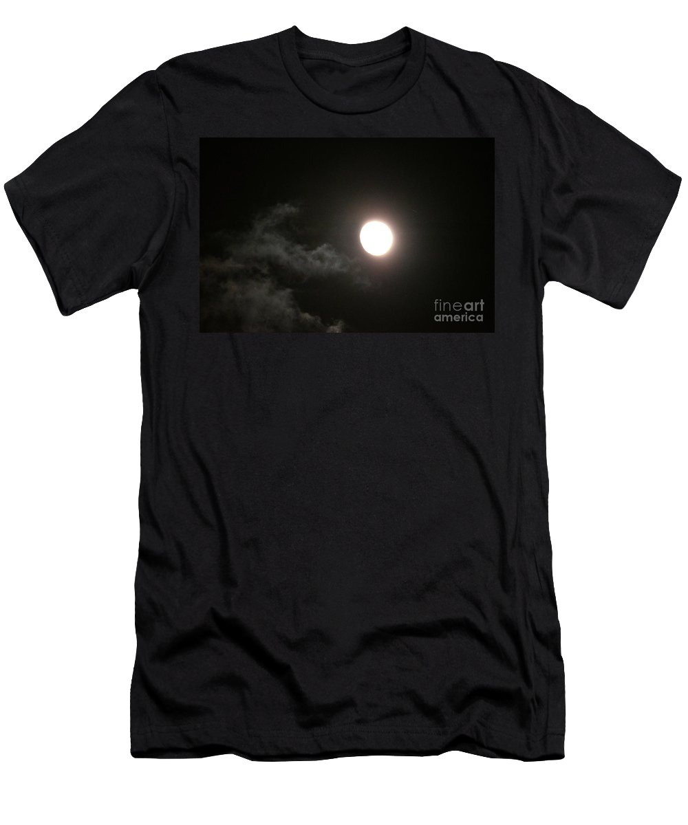 Slithering Moonlit Clouds Men's T-Shirt (Athletic Fit) featuring the photograph Slithering Moonlit Clouds by Maria Urso