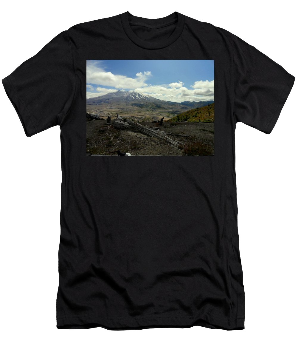 Photos Of Mt St Helens Photographs Men's T-Shirt (Athletic Fit) featuring the photograph Smoking Mountain by Christy Leigh