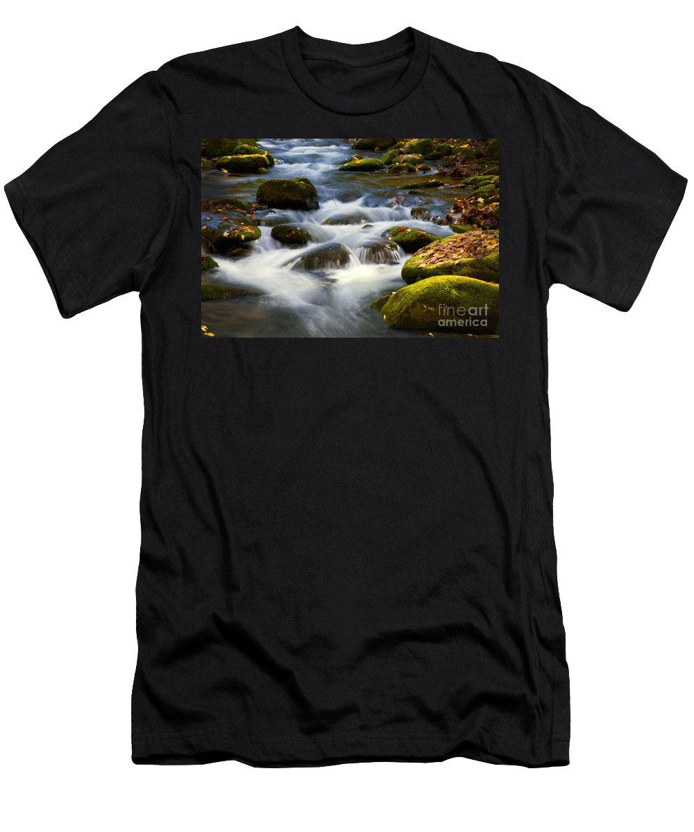Smoky Mountains Men's T-Shirt (Athletic Fit) featuring the photograph Smoky Mtn Stream by Paul W Faust - Impressions of Light