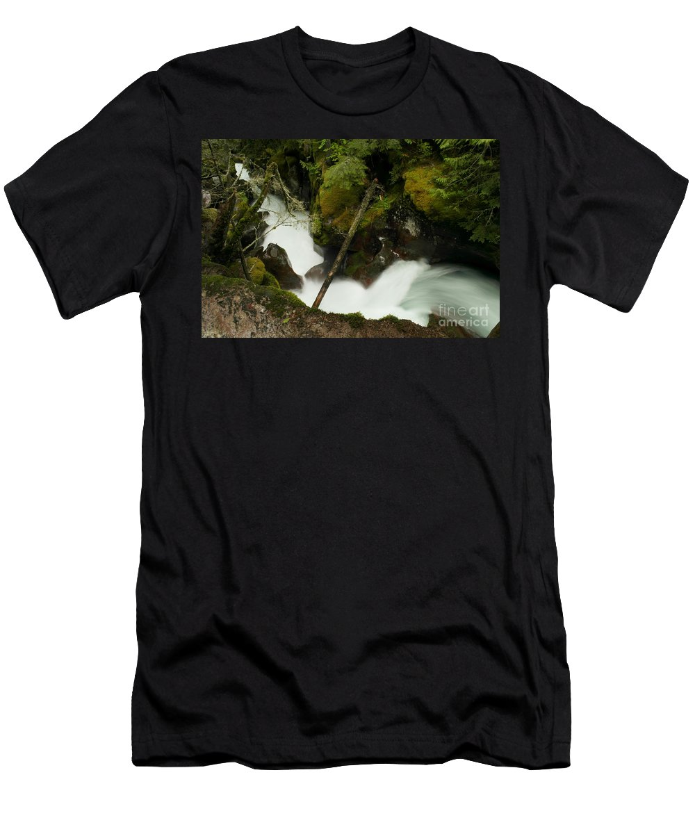 Water Men's T-Shirt (Athletic Fit) featuring the photograph Smoothing The Rocks by Jeff Swan