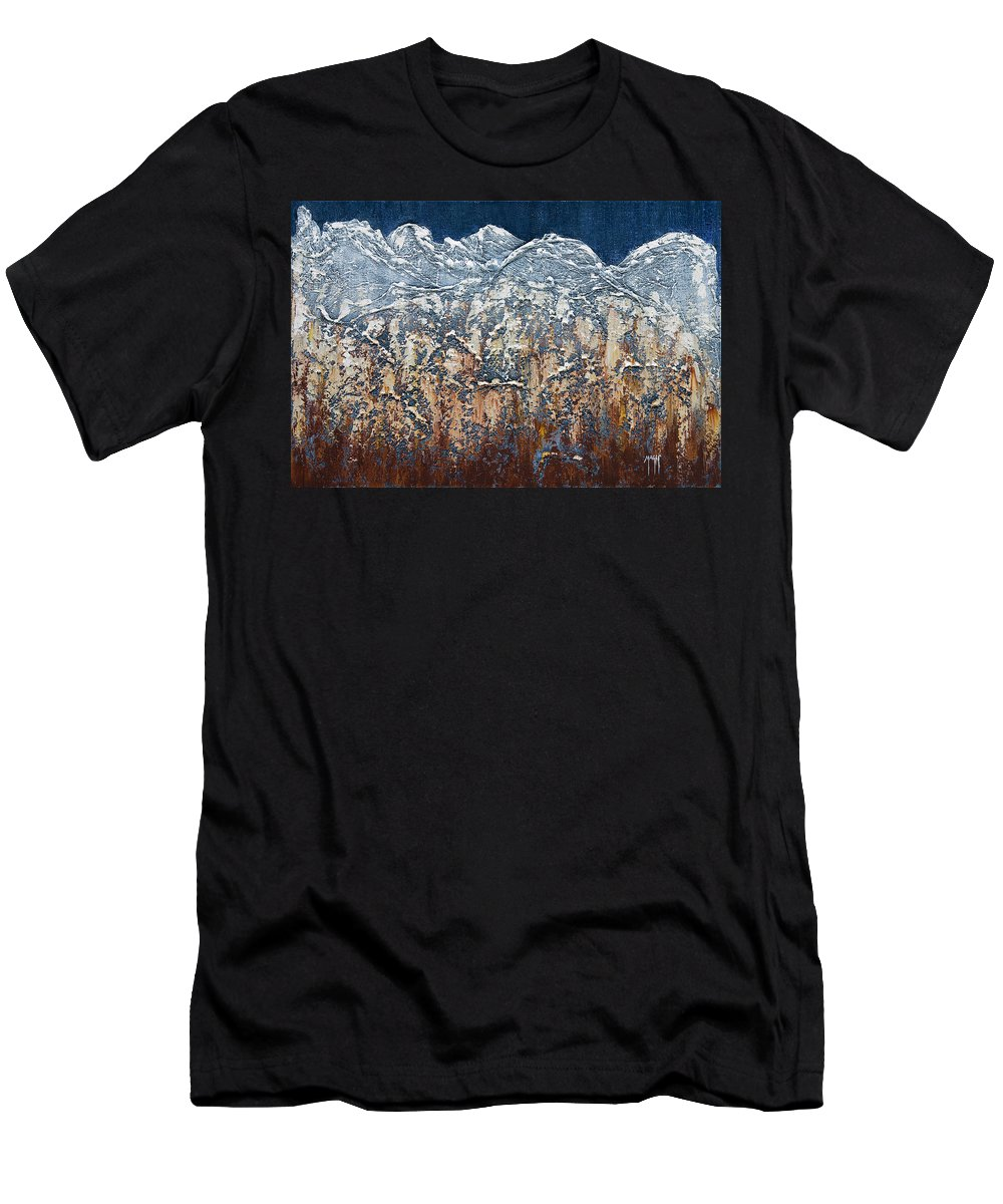 Art Men's T-Shirt (Athletic Fit) featuring the mixed media Snow Capped by Mauro Celotti