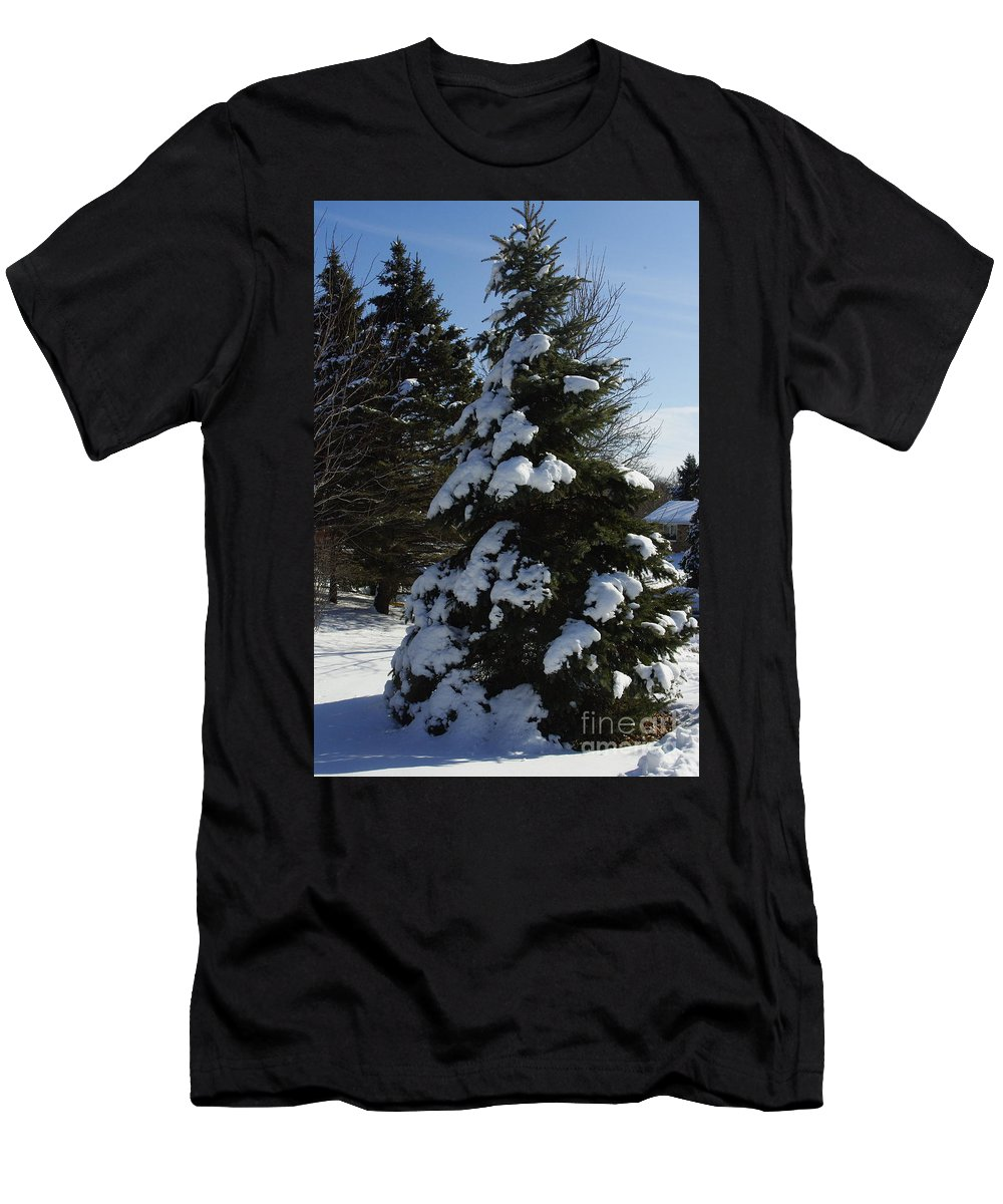 Evergreen Men's T-Shirt (Athletic Fit) featuring the photograph Snow Crusted Evergreen by Alice Markham