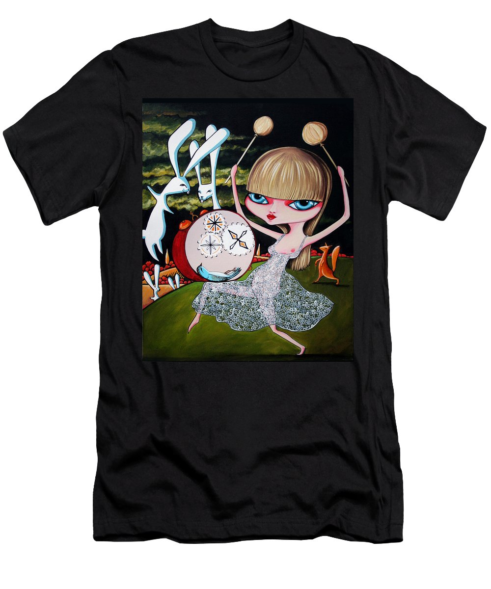 Bunnies Men's T-Shirt (Athletic Fit) featuring the painting Something To Bang On About by Leanne Wilkes