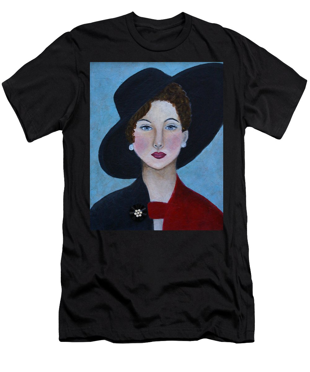 Lady In Hat Men's T-Shirt (Athletic Fit) featuring the painting Sophia by The Art With A Heart By Charlotte Phillips
