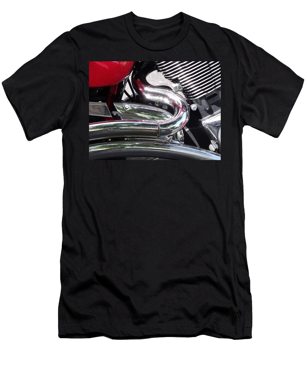 Motorcycle Detail Chrome Photo Men's T-Shirt (Athletic Fit) featuring the photograph Sparkling Curved Chrome by Cherokee Blue
