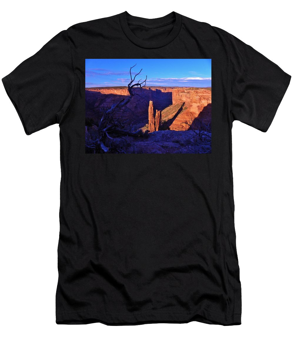 Canyon De Chelly Men's T-Shirt (Athletic Fit) featuring the photograph Spider Rock by John Wanserski