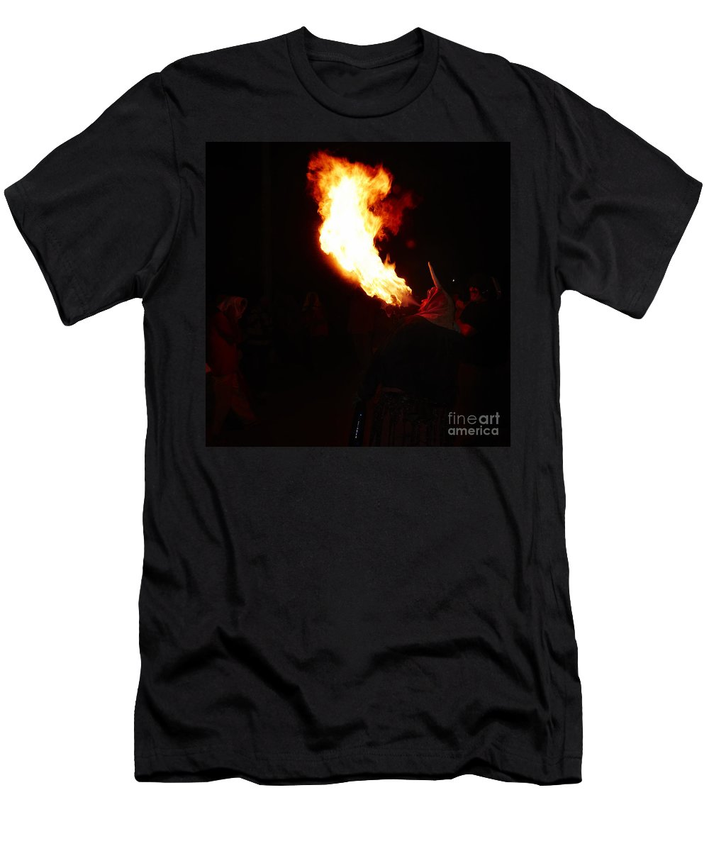 Fuego Men's T-Shirt (Athletic Fit) featuring the photograph Spittin Fire by Agusti Pardo Rossello
