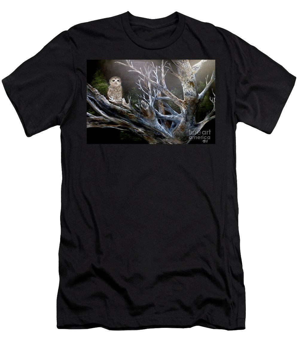 California Spotted Owl Men's T-Shirt (Athletic Fit) featuring the painting Spotted Owl In Tree by John Garland Tyson