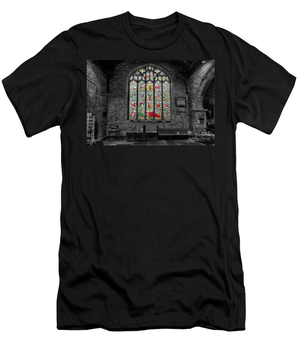Architecture Men's T-Shirt (Athletic Fit) featuring the photograph St Dyfnog Window by Adrian Evans