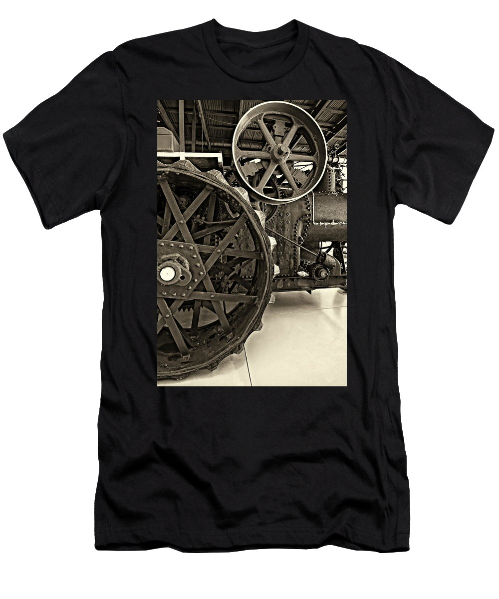 Grey Roots Museum & Archives Men's T-Shirt (Athletic Fit) featuring the photograph Steam Power Monochrome by Steve Harrington