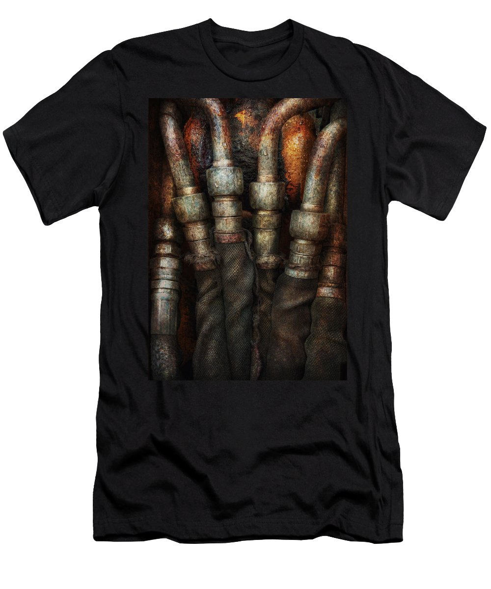 Hdr Men's T-Shirt (Athletic Fit) featuring the photograph Steampunk - Pipes by Mike Savad