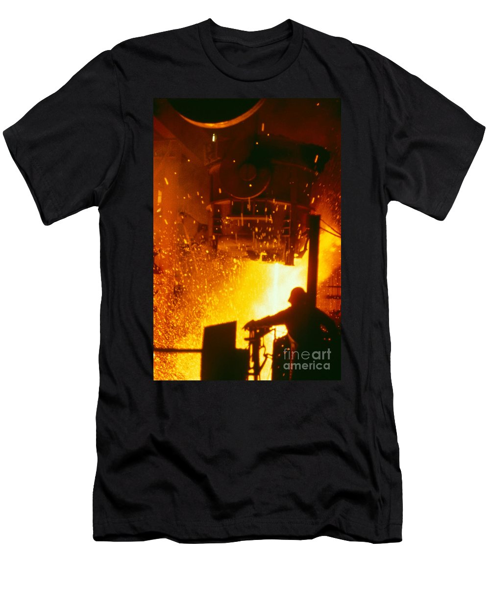 Steelmaking Men's T-Shirt (Athletic Fit) featuring the photograph Steelworks by U.S. Department of Energy
