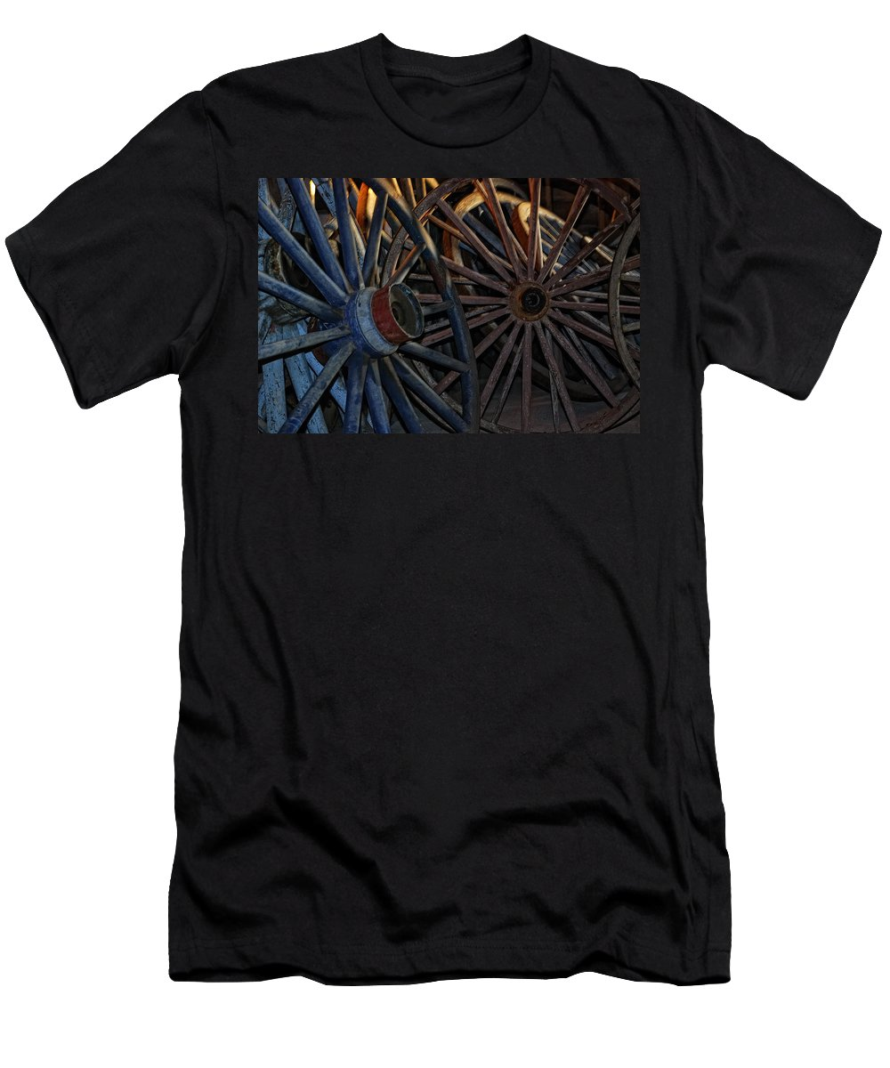 Wheels Men's T-Shirt (Athletic Fit) featuring the photograph Still Willing To Be Wheelin' by Susan Capuano