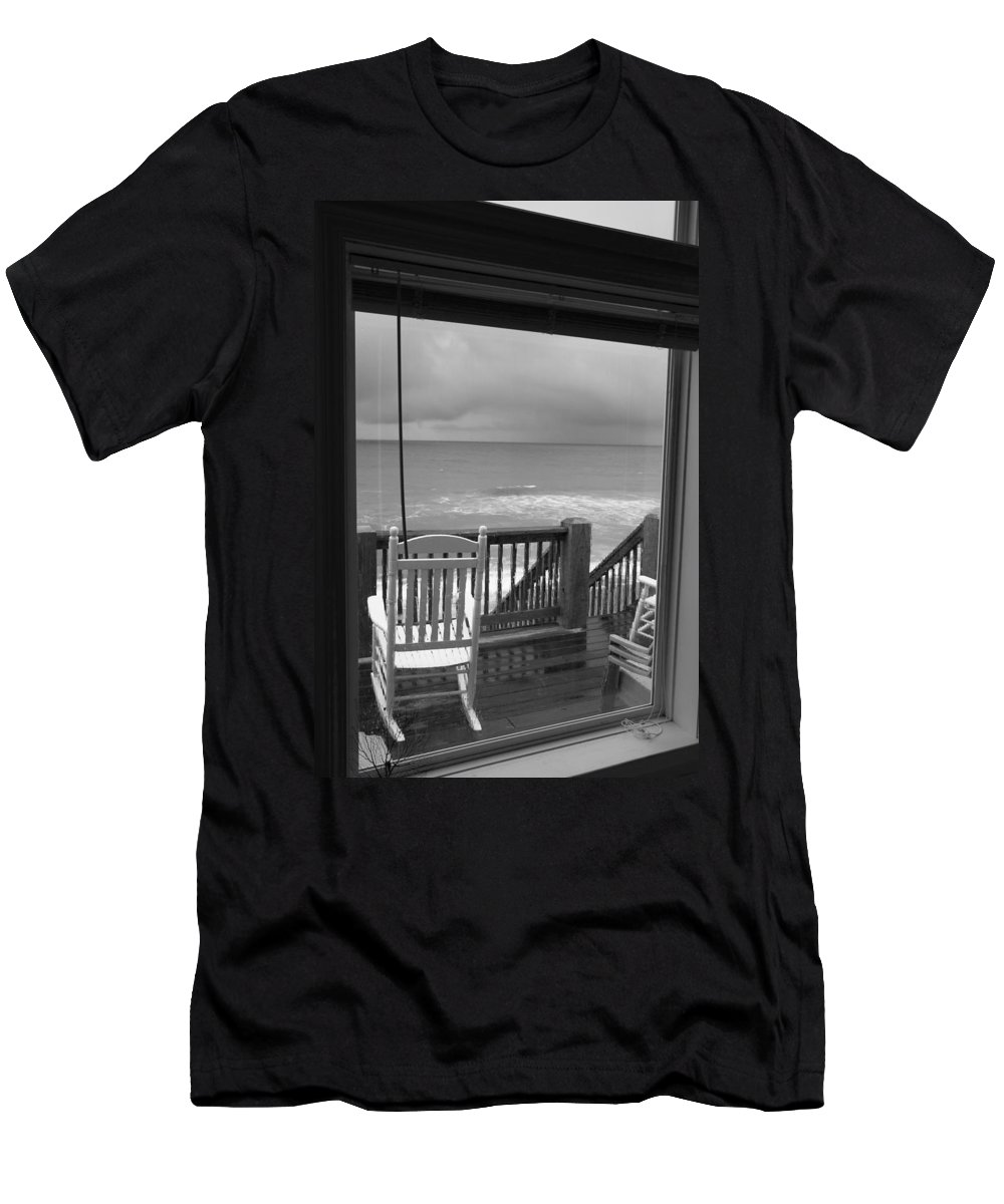 Beach Men's T-Shirt (Athletic Fit) featuring the photograph Storm-rocked Beach Chairs by Betsy Knapp