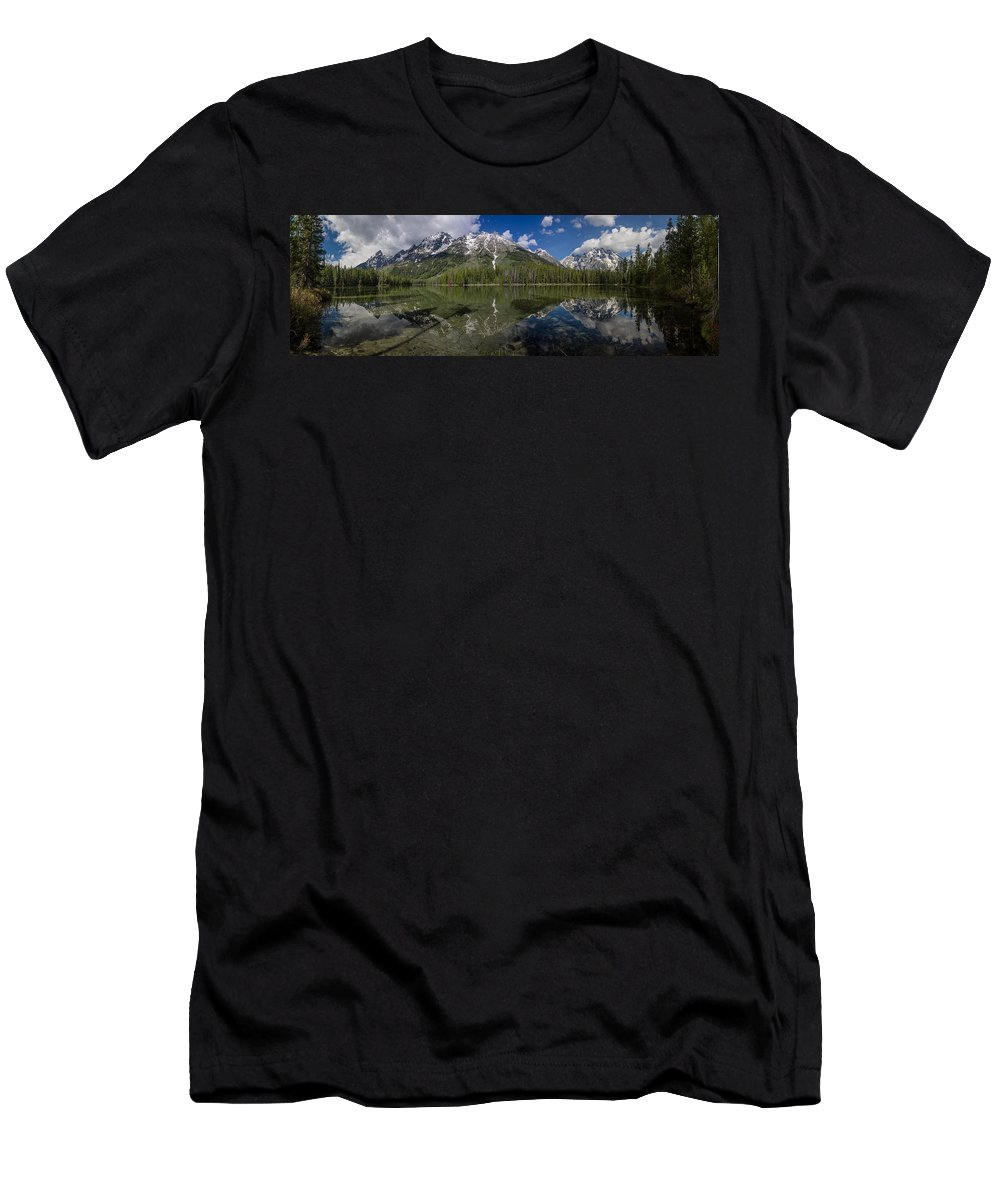 String Lake Men's T-Shirt (Athletic Fit) featuring the photograph String Lake Panorama by Greg Nyquist