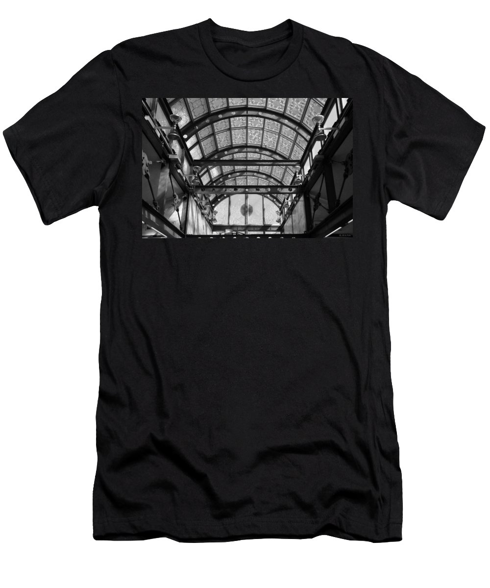 Black And White Men's T-Shirt (Athletic Fit) featuring the photograph Subway Glass Station In Black And White by Rob Hans